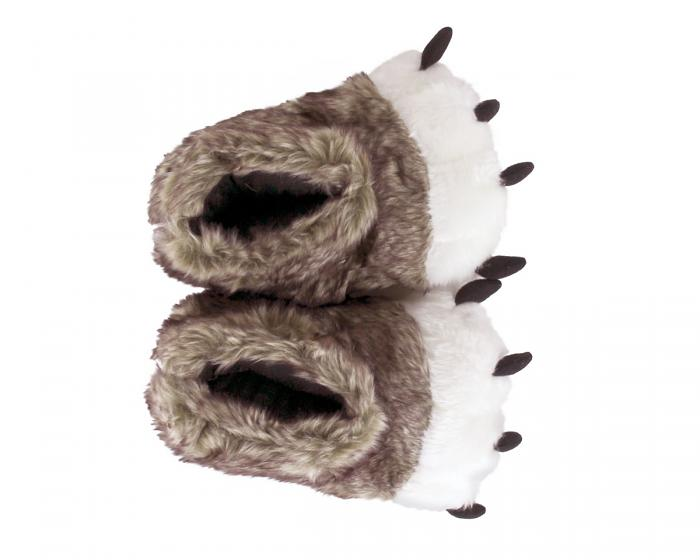 Kids Brown Wolf Paw Slippers Top View