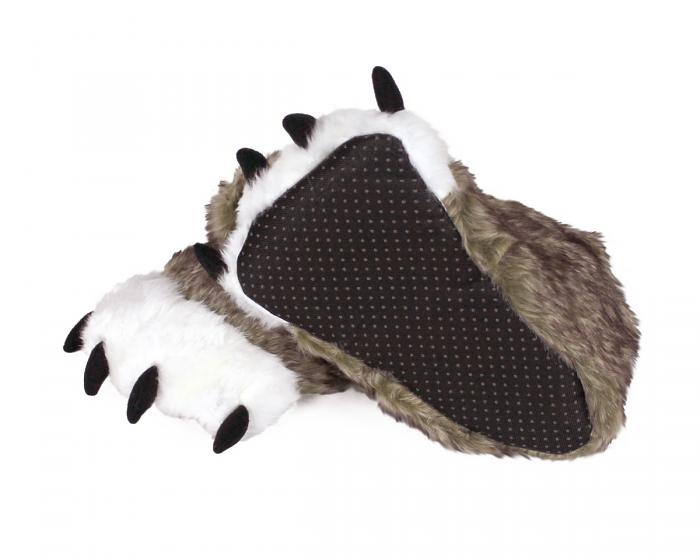 Kids Brown Wolf Paw Slippers Bottom View