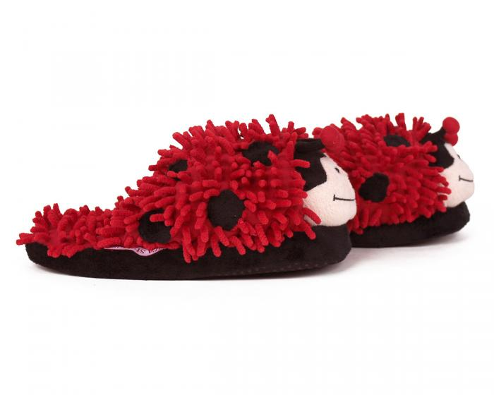 Fuzzy Lady Bug Slippers Side View