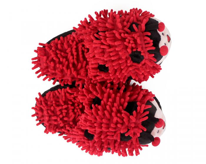 Fuzzy Lady Bug Slippers Top View