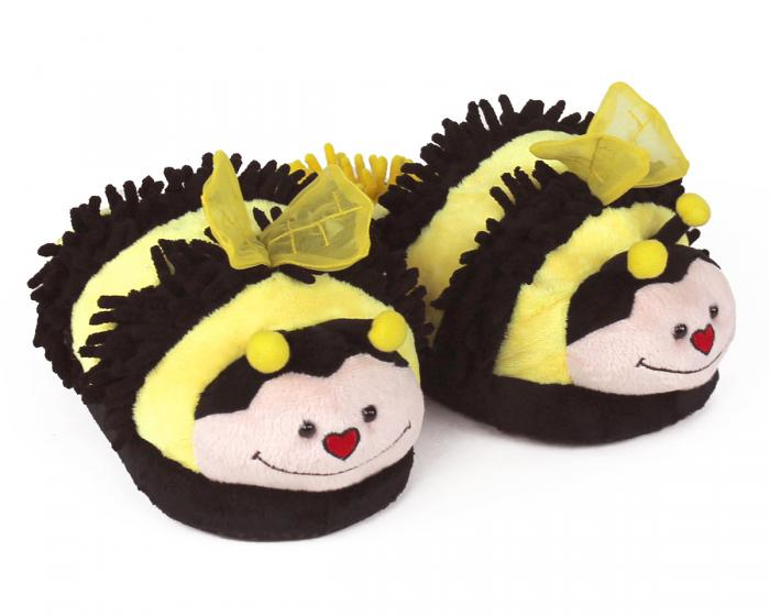Fuzzy Bee Slippers 3/4 View