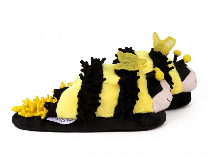 Fuzzy Bee Slippers Side View