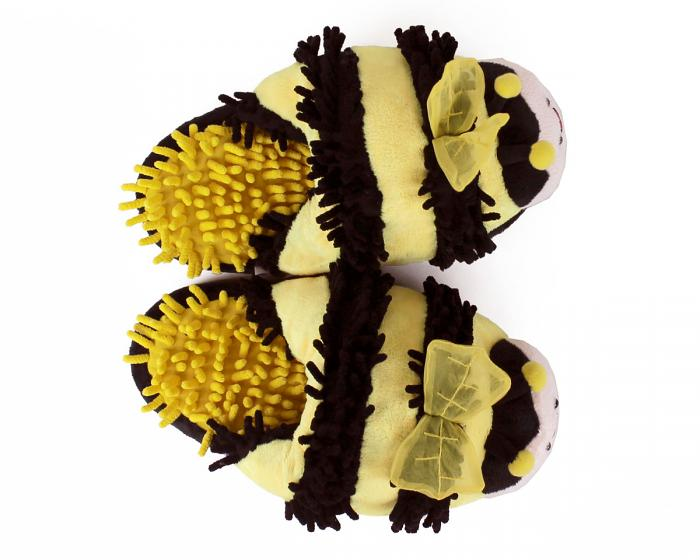 Fuzzy Bee Slippers Top View