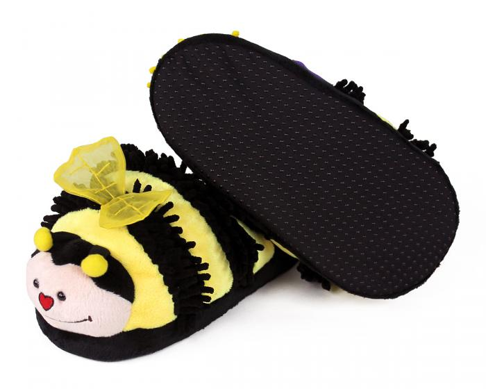 Fuzzy Bee Slippers Bottom View