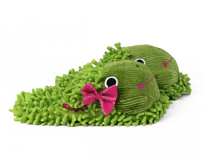 Fuzzy Frog Slippers Side View