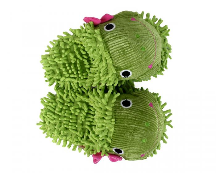 Fuzzy Frog Slippers Top View
