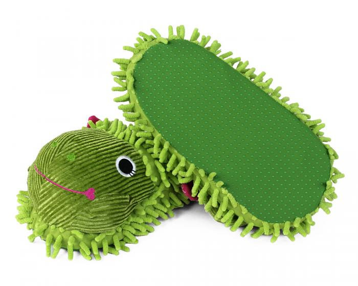 Fuzzy Frog Slippers Bottom View