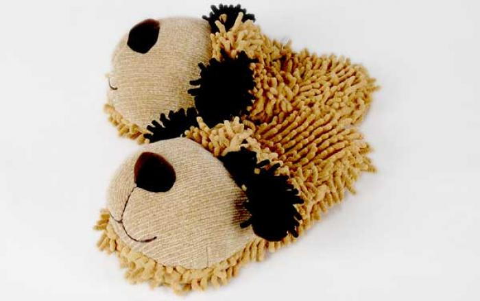 Fuzzy Tan Dog Slippers 1