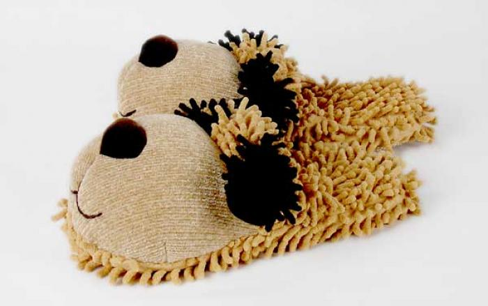Fuzzy Tan Dog Slippers 2