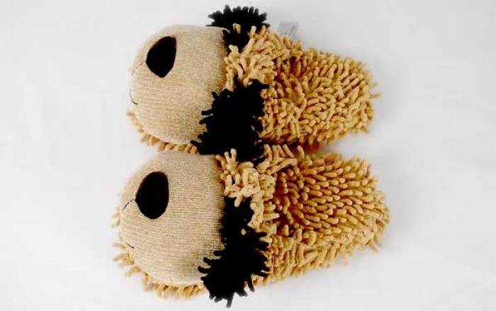 Fuzzy Tan Dog Slippers 4