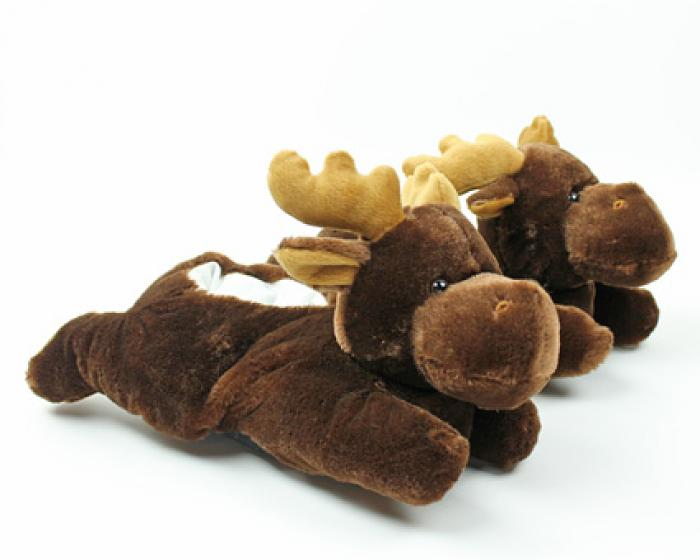Fuzzy Moose Slippers 1