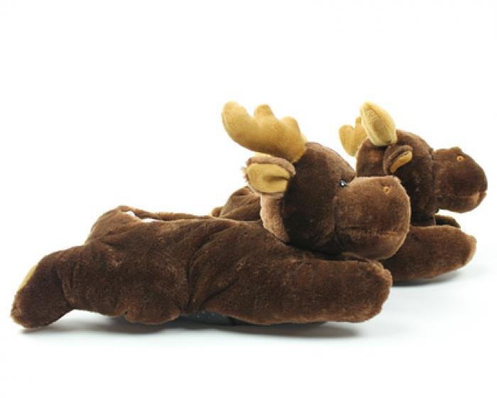 Fuzzy Moose Slippers 2