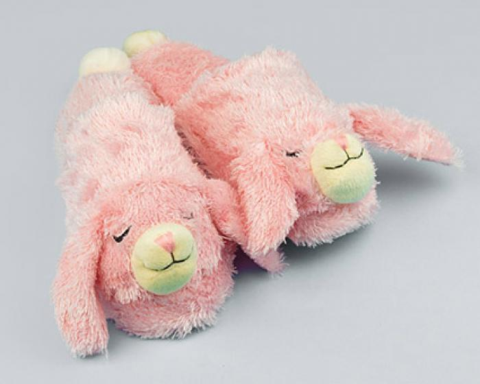 Fuzzy Pink Bunny Slippers 1