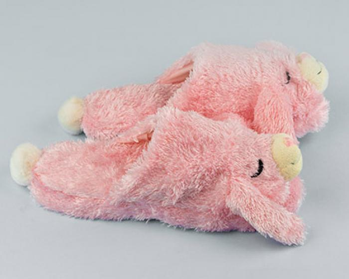 Fuzzy Pink Bunny Slippers 2