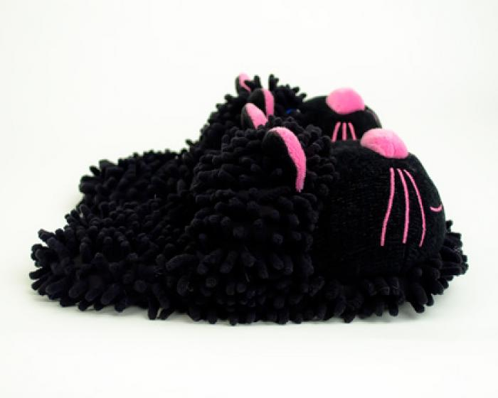 Fuzzy Black Cat Slippers 2