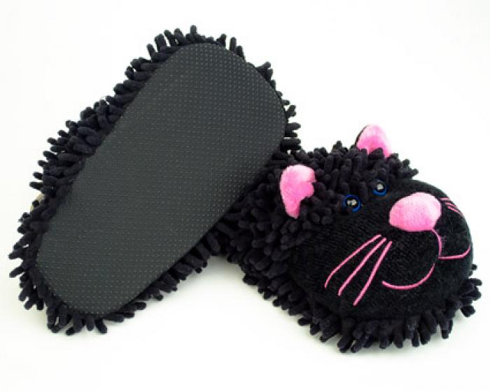 Fuzzy Black Cat Slippers 3