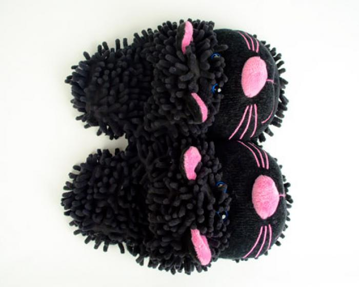 Fuzzy Black Cat Slippers 4
