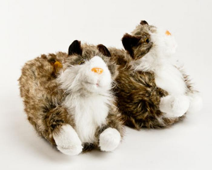 Gray Long Hair Cat Slippers 1