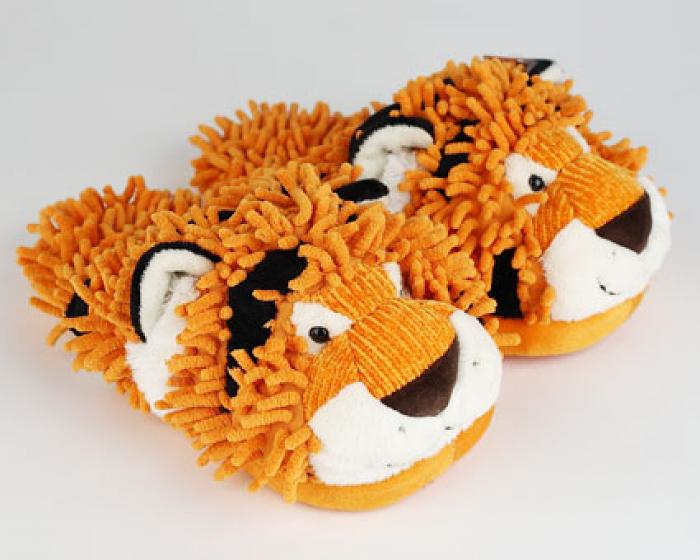 Fuzzy Tiger Slippers 1