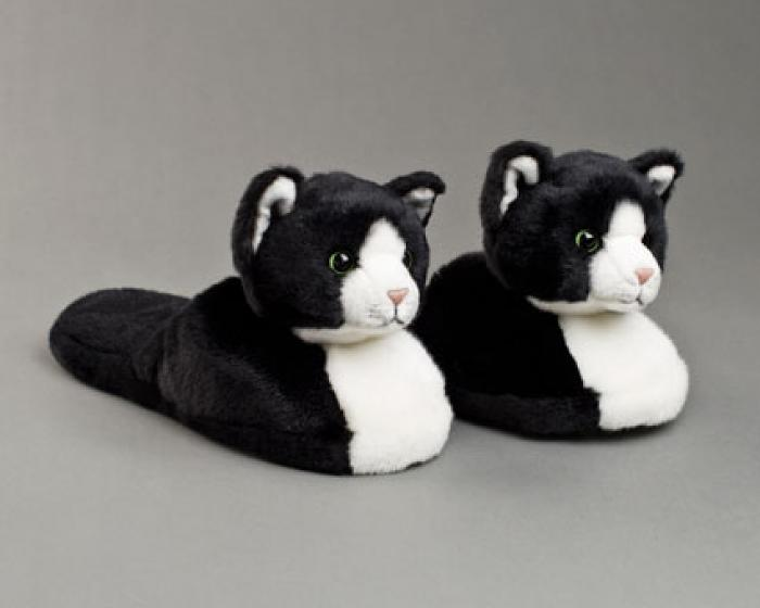 Black And White Kitty Slippers 1