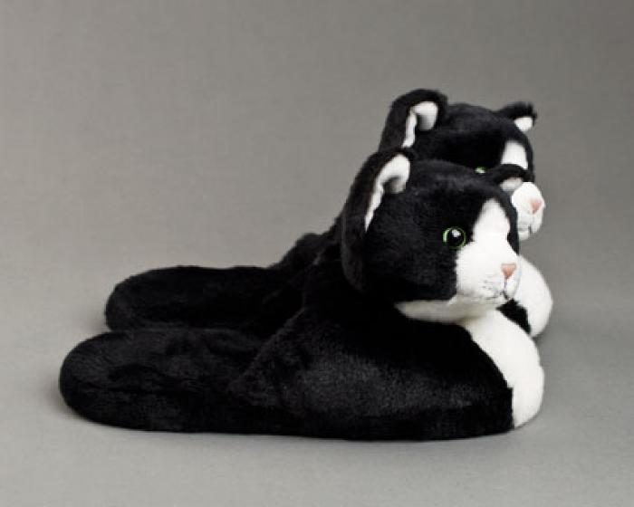Black And White Kitty Slippers Black And White Cat Slippers