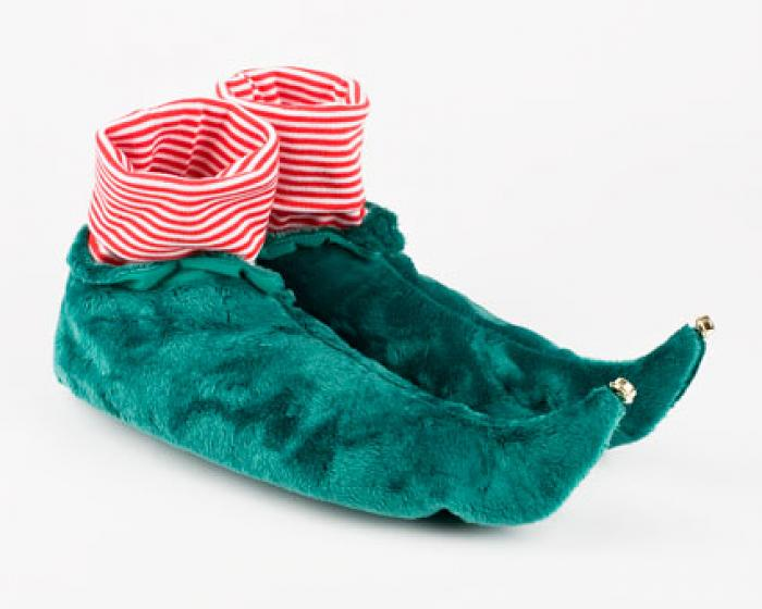 Kids Green Elf Slippers 1