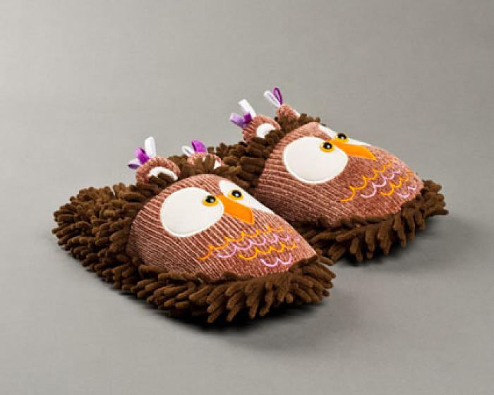 Fuzzy Owl Slippers 1