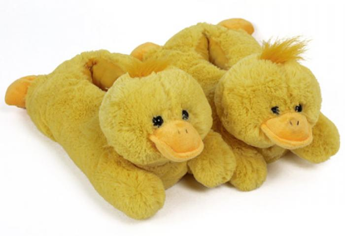 Fuzzy Yellow Duck Slippers 1