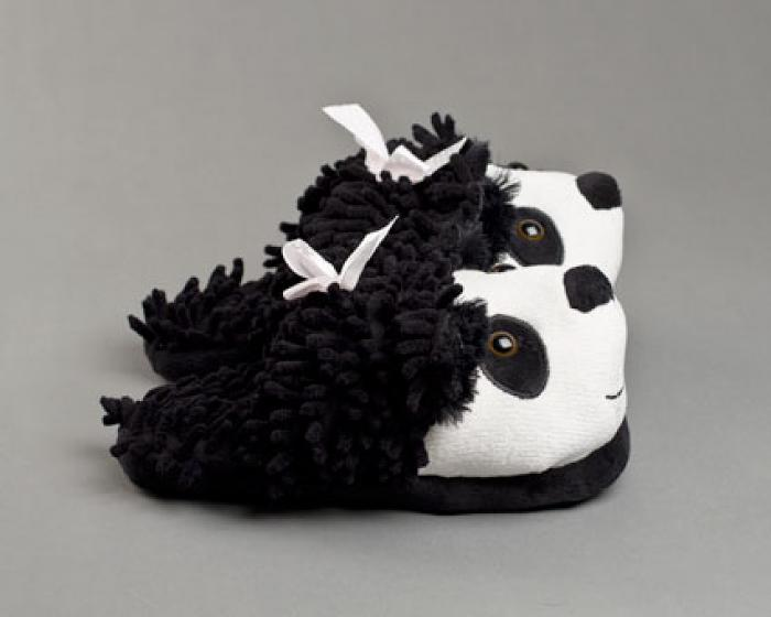 Fuzzy Panda Bear Slippers 1