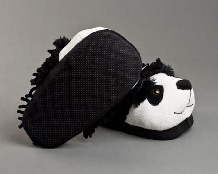Fuzzy Panda Bear Slippers 3