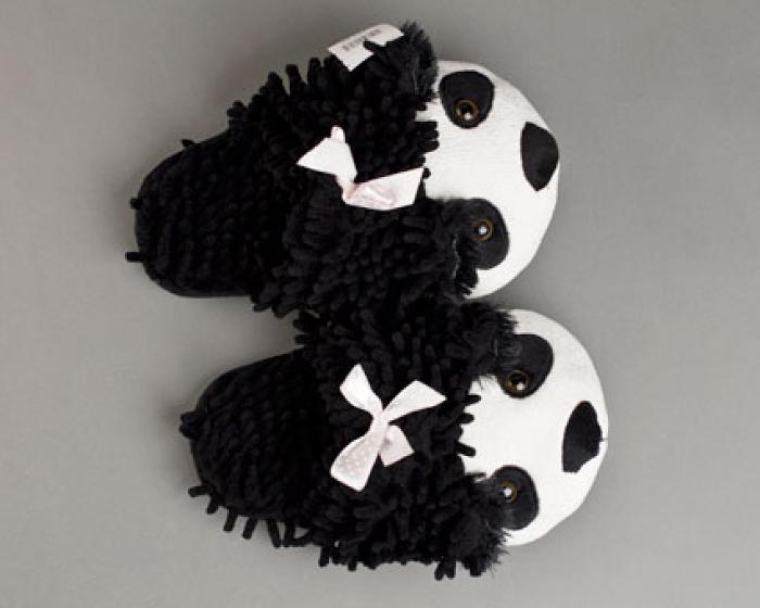 Fuzzy Panda Bear Slippers 4