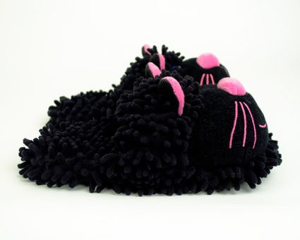 Fuzzy Black Cat Slippers Black Amp Pink Cat Slippers