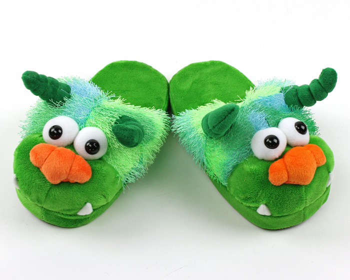 Children's Green Monster Slippers 1