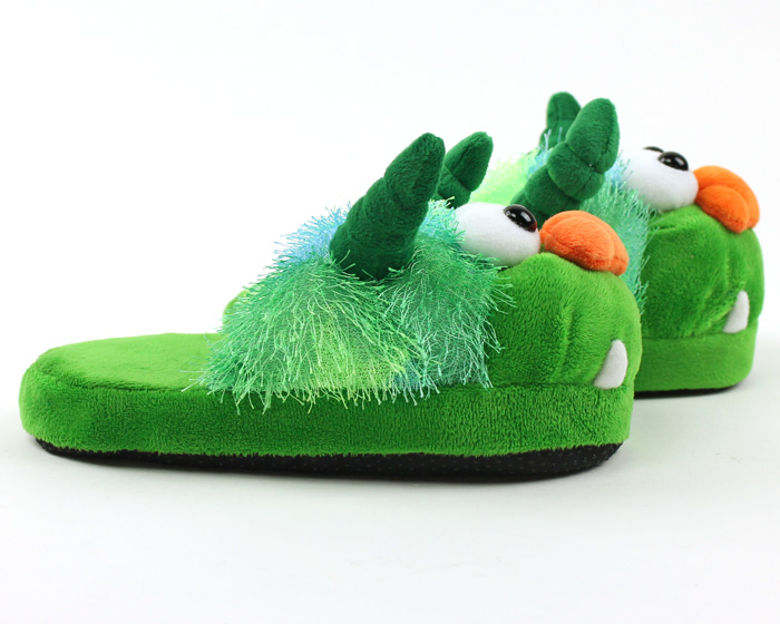 Children's Green Monster Slippers 2
