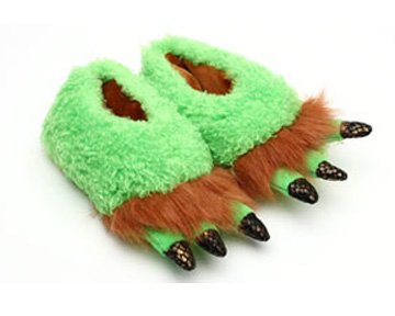 Toddlers Green Monster Feet Slippers