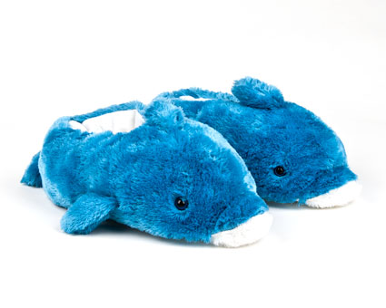 Kids Blue Dolphin Animal Slippers