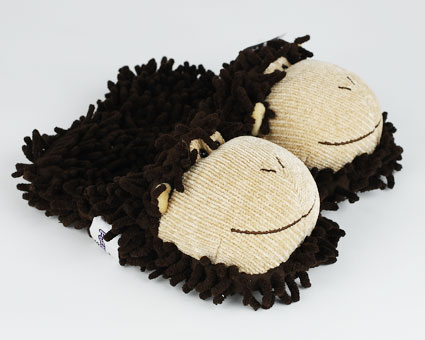 Kids Fuzzy Monkey Slippers