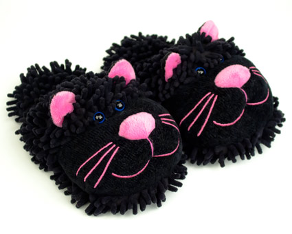 Fuzzy Black Cat Slippers