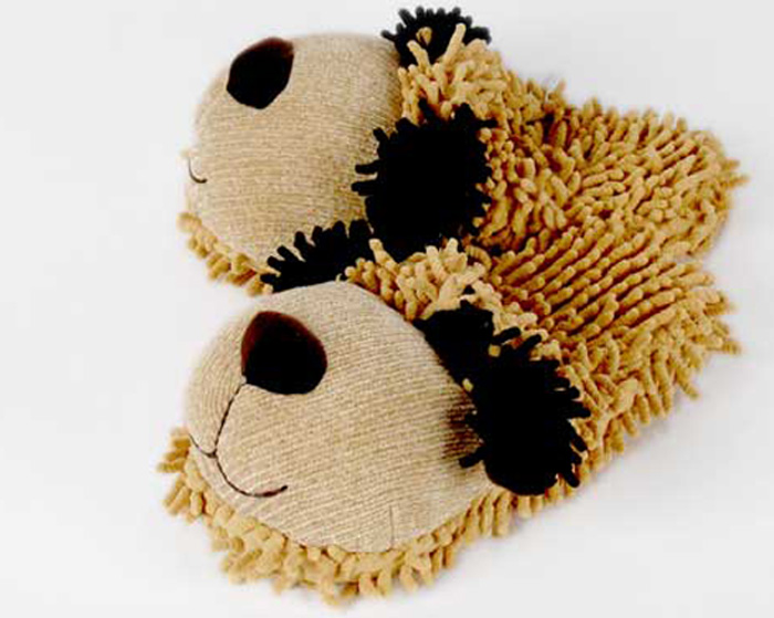 Fuzzy Tan Dog Slippers