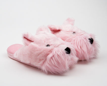 Fuzzy Pink Westie Dog Slipper