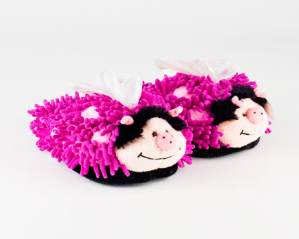 Fuzzy Purple Butterfly Slippers