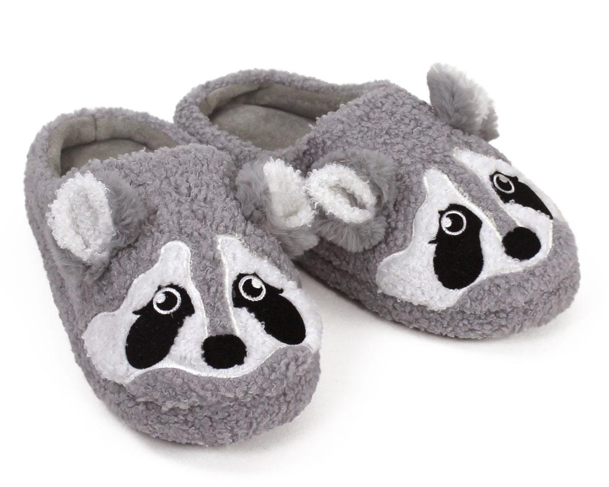 Gray Raccoon Slippers