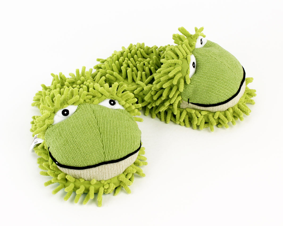 Kids Fuzzy Frog Slippers