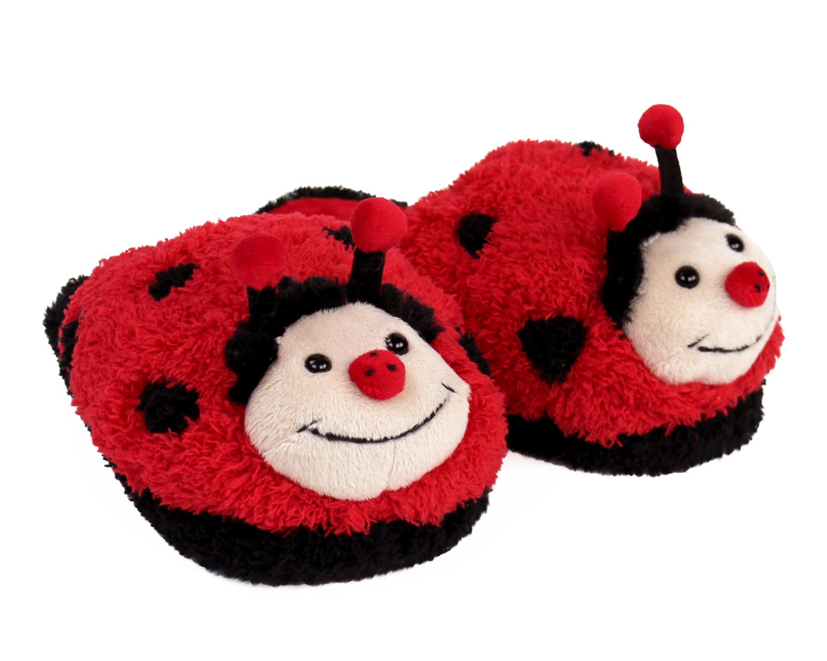 Kids Fuzzy Lady Bug Slippers