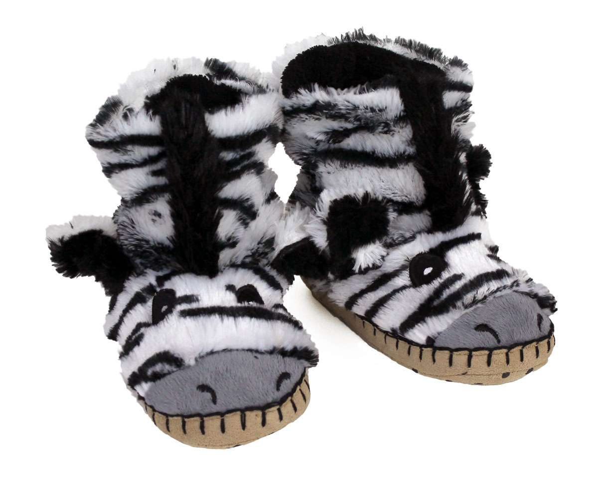 Kids Zebra Slouch Slippers