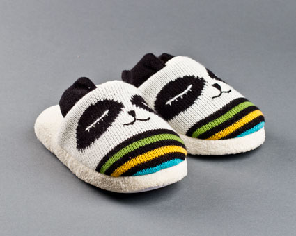 Knitted Clog Panda Slippers