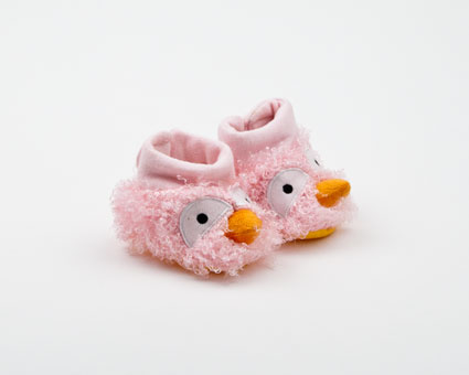 Pink Bird Curly Booties
