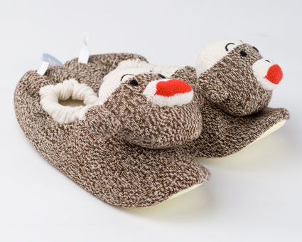 Kids Sock Monkey Slippers