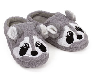 Gray Raccoon Slippers
