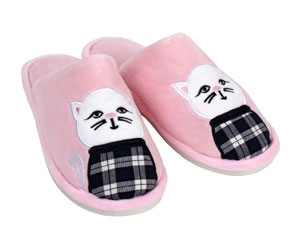 Plaid Cat Slippers